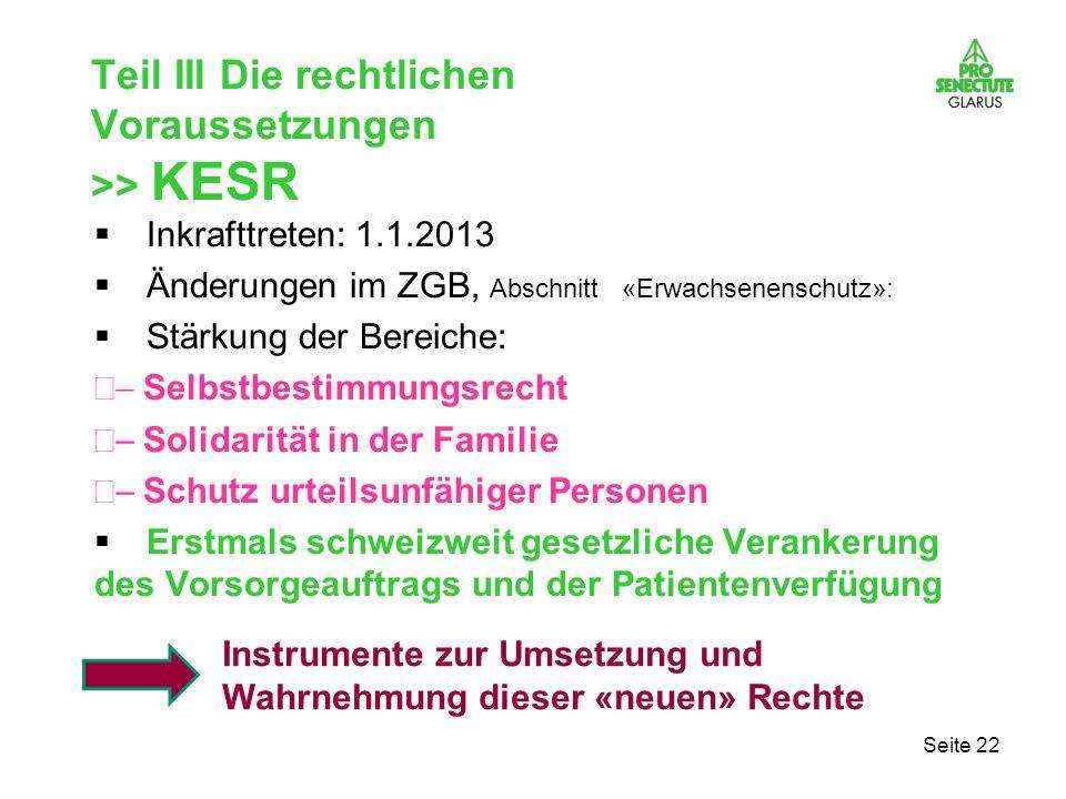 Teil III Die rechtlichen Voraussetzungen >> KESR