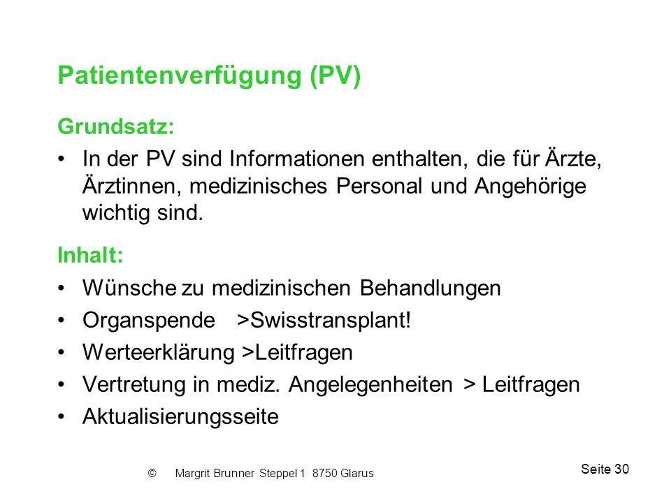Patientenverfügung (PV)