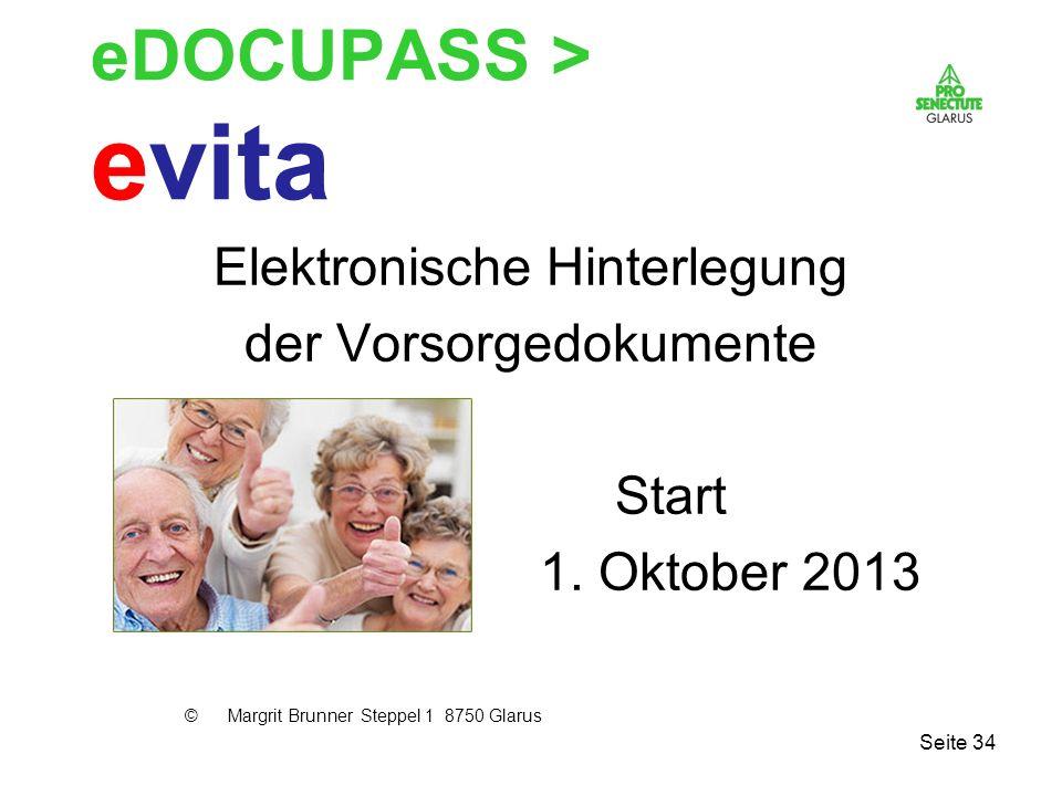 eDOCUPASS > evita Elektronische Hinterlegung der Vorsorgedokumente