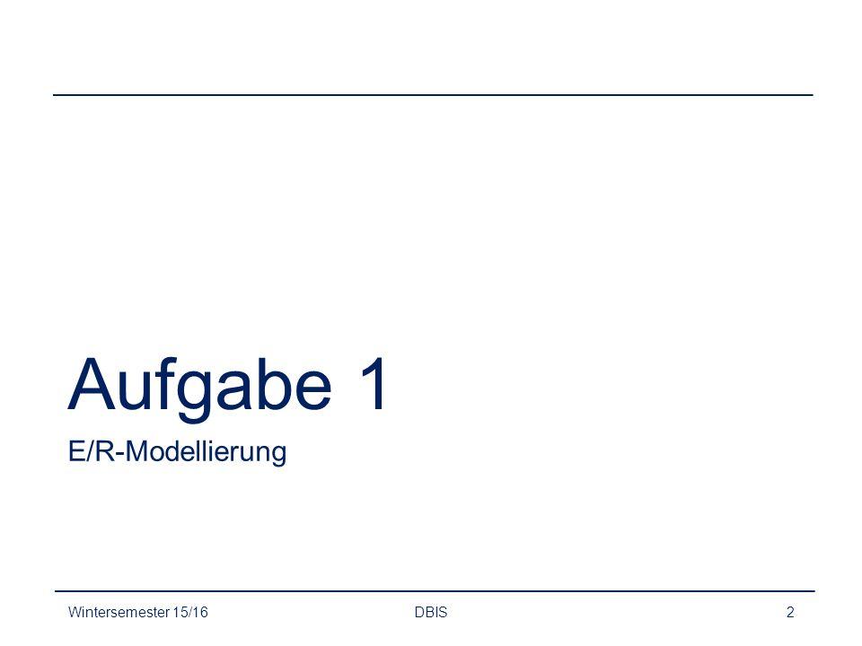 Aufgabe 1 E/R-Modellierung Wintersemester 15/16 DBIS