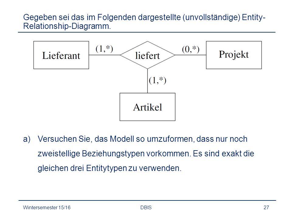 Gegeben sei das im Folgenden dargestellte (unvollständige) Entity-Relationship-Diagramm.