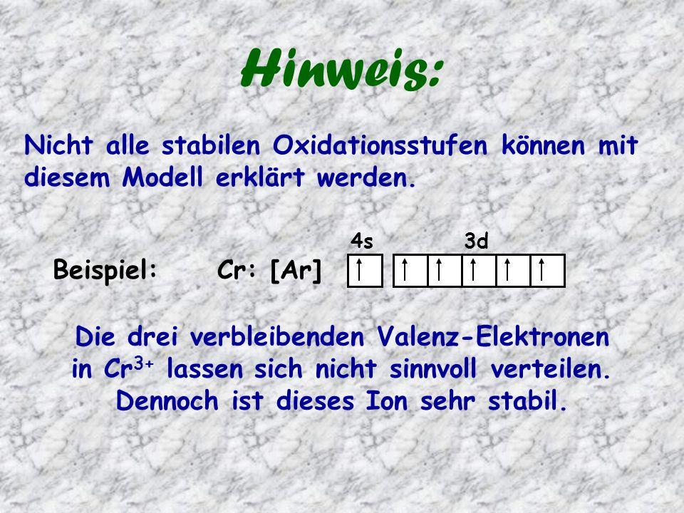 Hinweis: Nicht alle stabilen Oxidationsstufen können mit diesem Modell erklärt werden. 4s 3d.