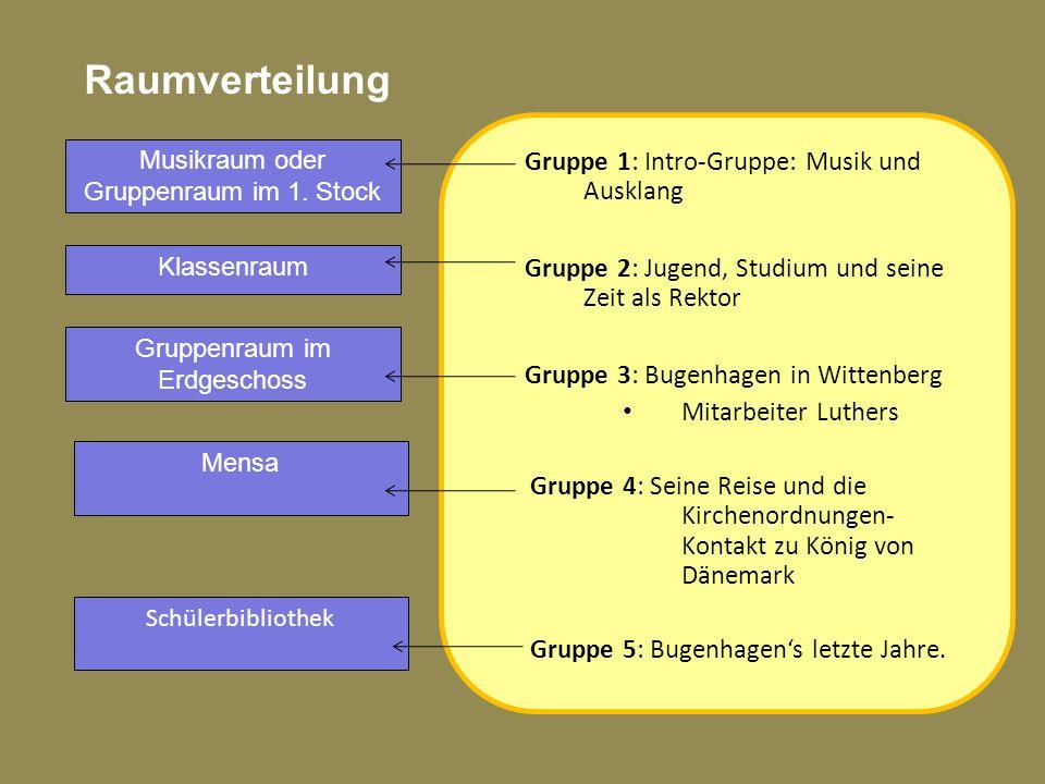 Raumverteilung Gruppe 1: Intro-Gruppe: Musik und Ausklang