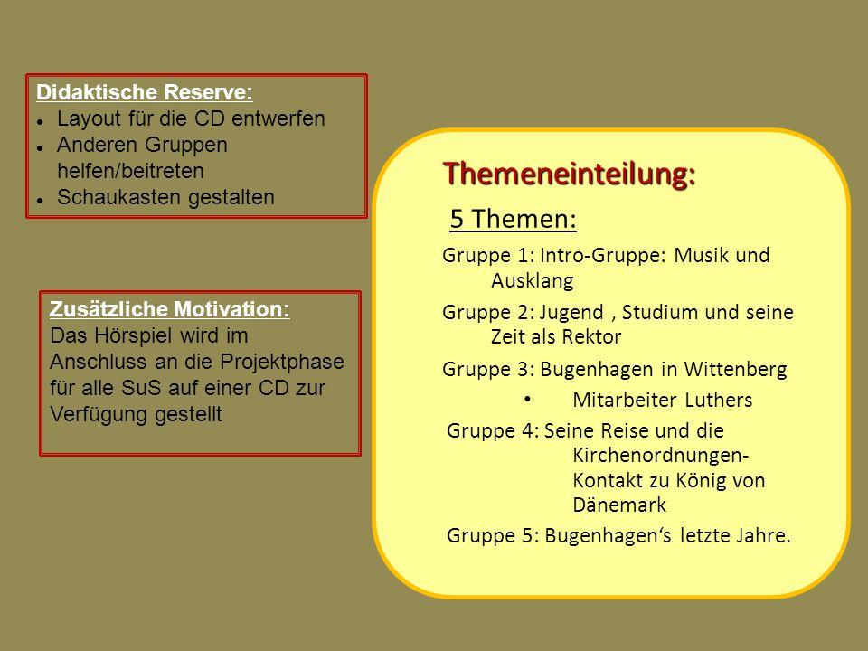 Themeneinteilung: 5 Themen: Gruppe 1: Intro-Gruppe: Musik und Ausklang