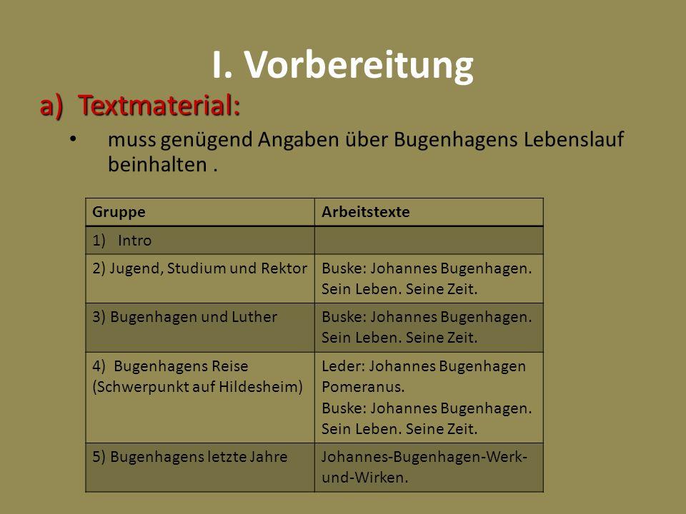 I. Vorbereitung Textmaterial: