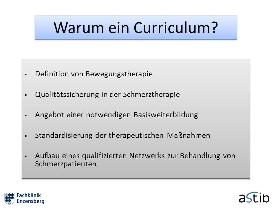 Warum ein Curriculum Definition von Bewegungstherapie