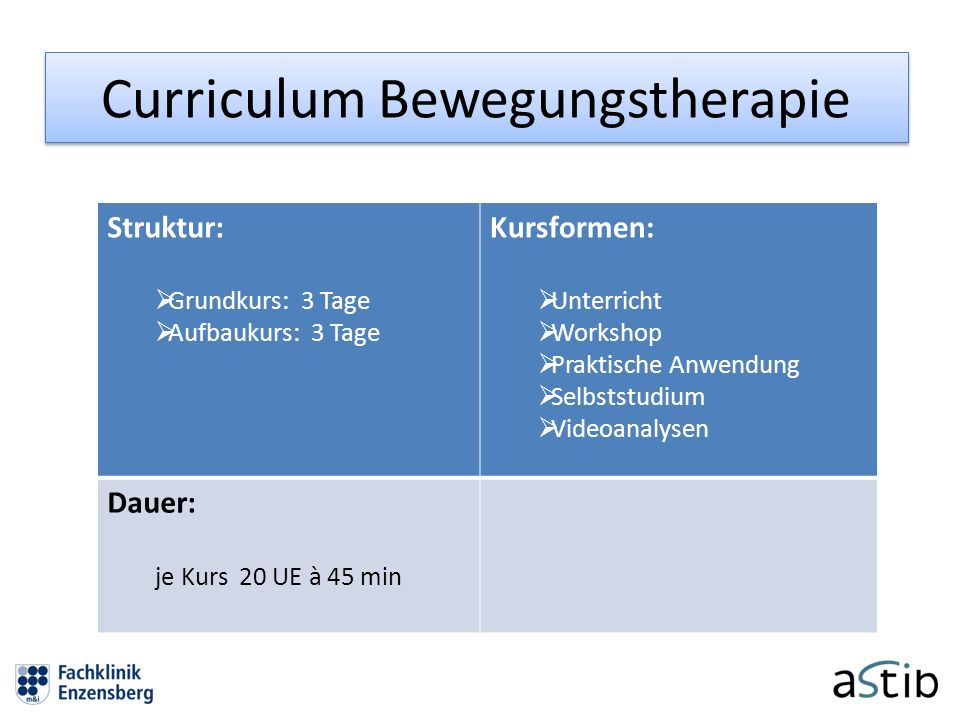 Curriculum Bewegungstherapie