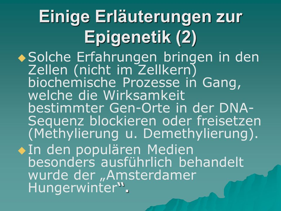 Einige Erläuterungen zur Epigenetik (2)
