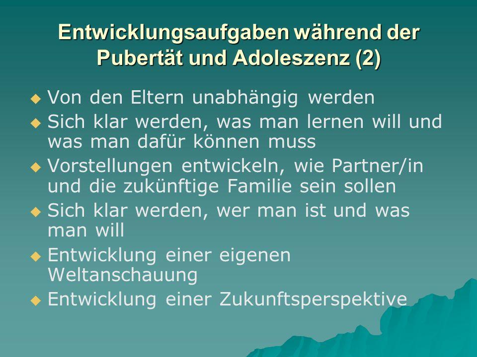 Entwicklungsaufgaben während der Pubertät und Adoleszenz (2)