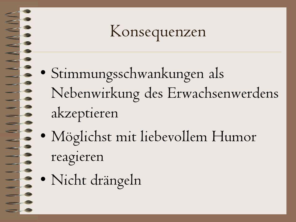 Konsequenzen Stimmungsschwankungen als Nebenwirkung des Erwachsenwerdens akzeptieren. Möglichst mit liebevollem Humor reagieren.