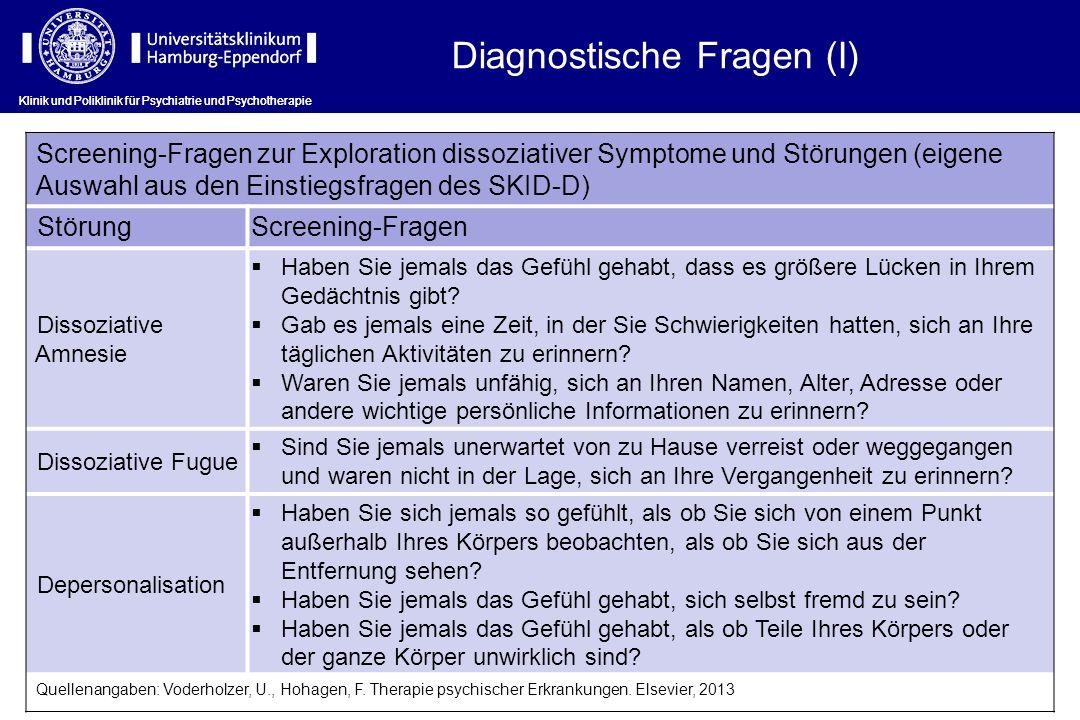 Diagnostische Fragen (I)