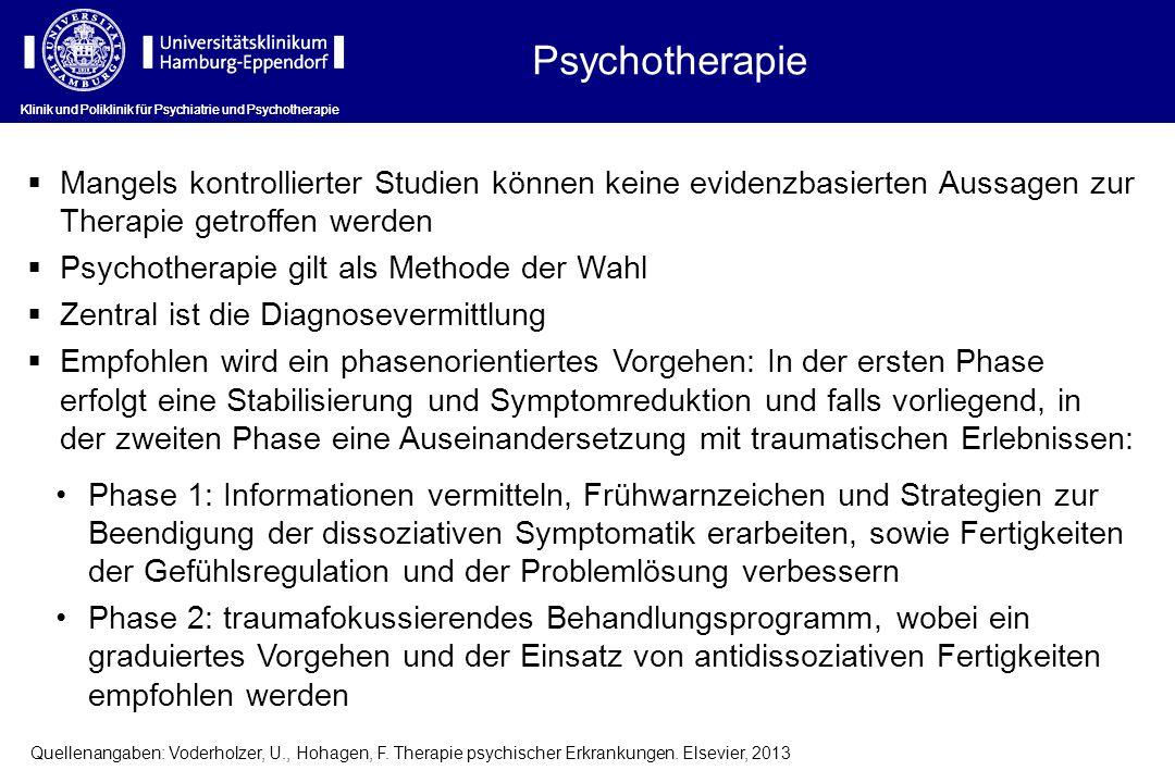 Psychotherapie Klinik und Poliklinik für Psychiatrie und Psychotherapie.