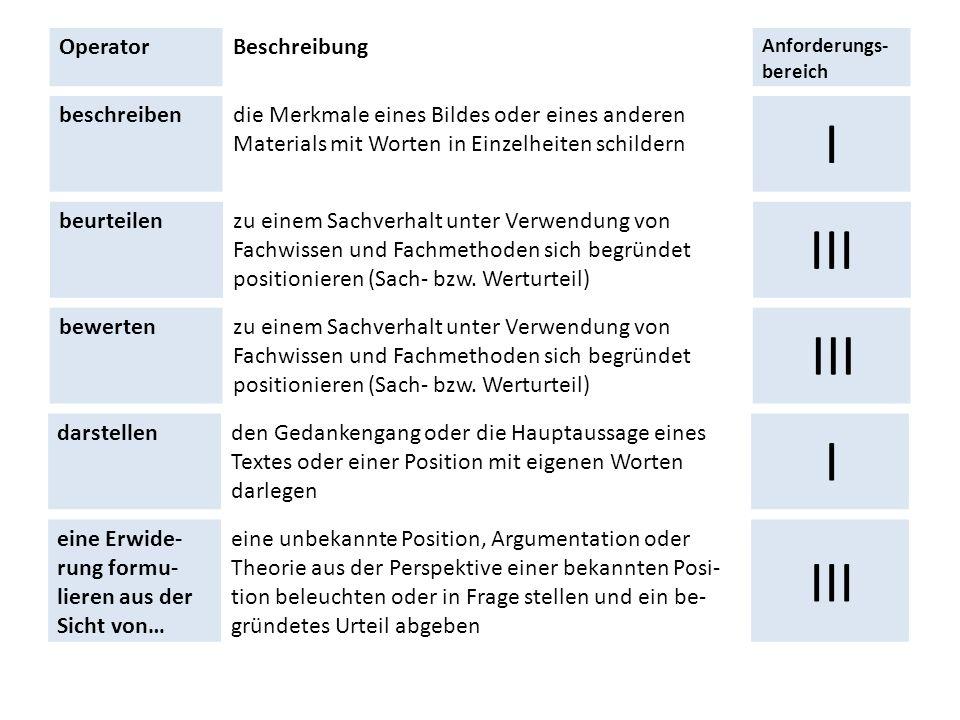 I III III I III Operator Beschreibung beschreiben