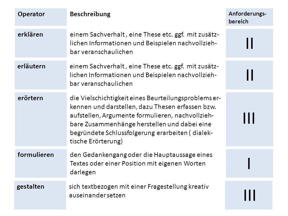 II II III I III Operator Beschreibung erklären