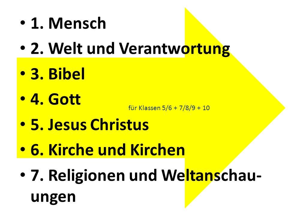 2. Welt und Verantwortung 3. Bibel 4. Gott 5. Jesus Christus