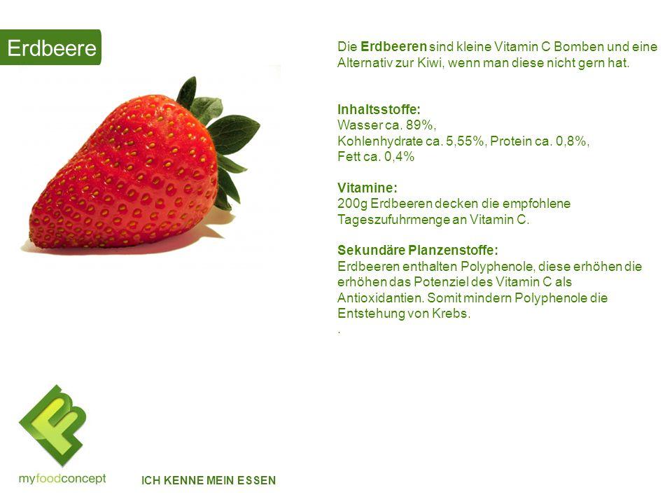 Erdbeere Die Erdbeeren sind kleine Vitamin C Bomben und eine Alternativ zur Kiwi, wenn man diese nicht gern hat.