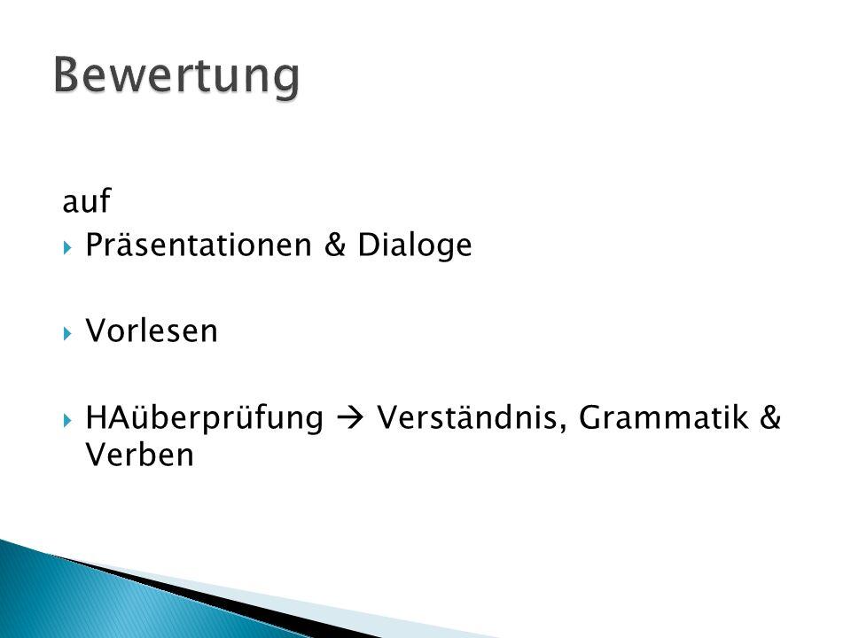 Bewertung auf Präsentationen & Dialoge Vorlesen