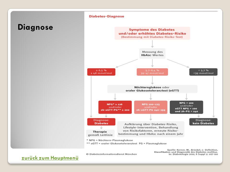 Diagnose zurück zum Hauptmenü