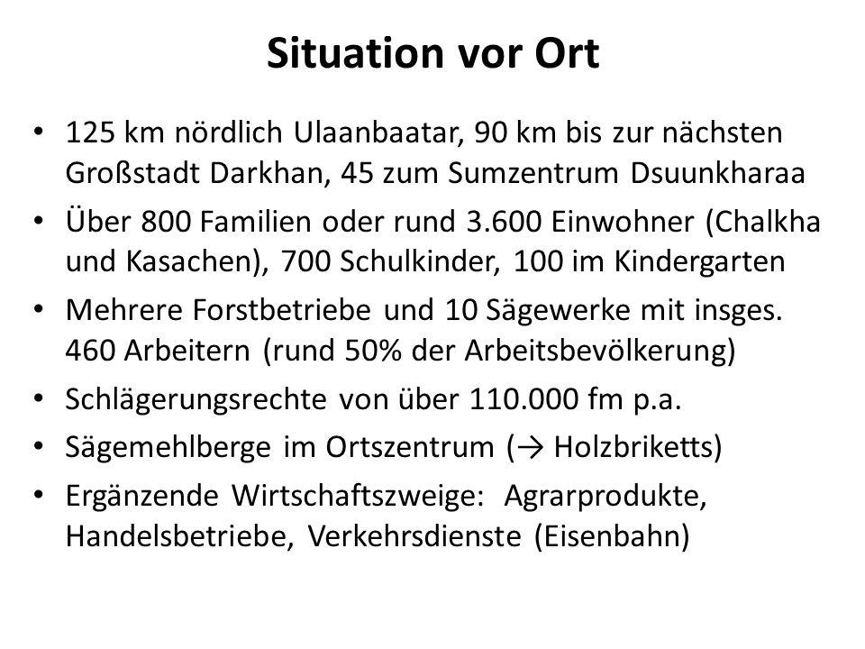 Situation vor Ort 125 km nördlich Ulaanbaatar, 90 km bis zur nächsten Großstadt Darkhan, 45 zum Sumzentrum Dsuunkharaa.