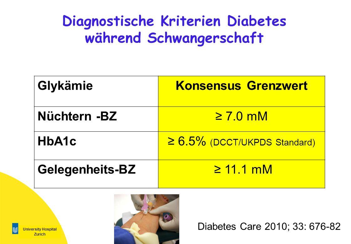 Diagnostische Kriterien Diabetes während Schwangerschaft