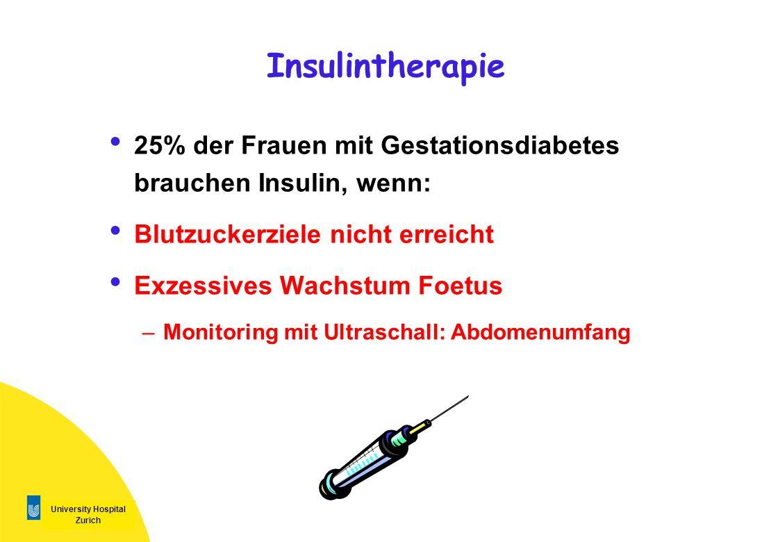 Insulintherapie 25% der Frauen mit Gestationsdiabetes brauchen Insulin, wenn: Blutzuckerziele nicht erreicht.
