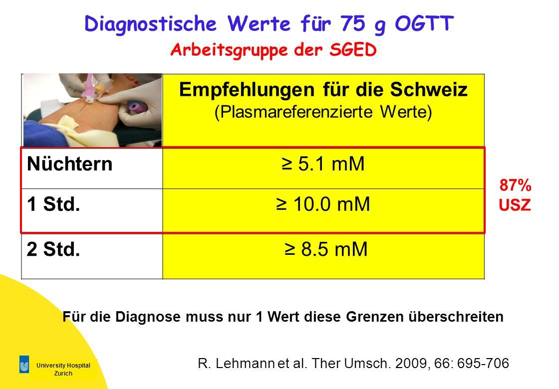 Diagnostische Werte für 75 g OGTT Arbeitsgruppe der SGED