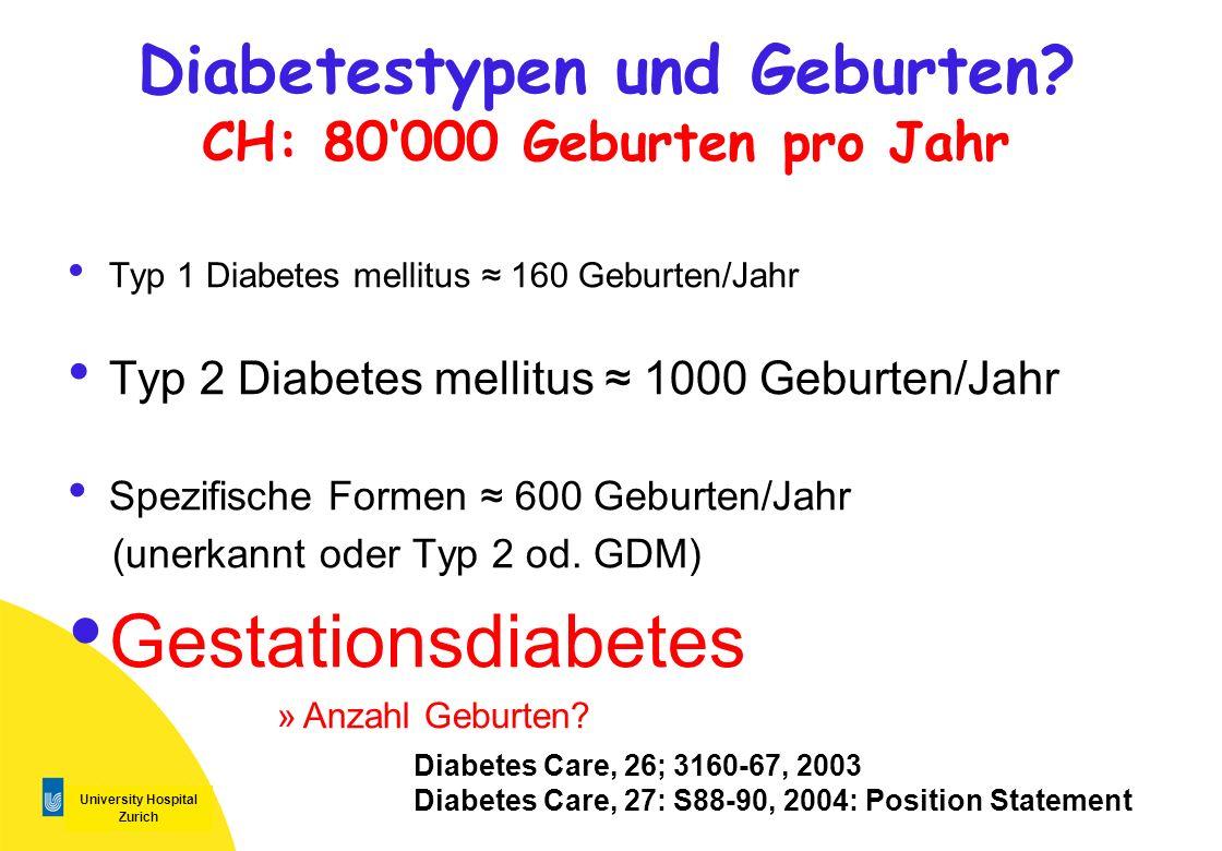 Diabetestypen und Geburten CH: 80'000 Geburten pro Jahr