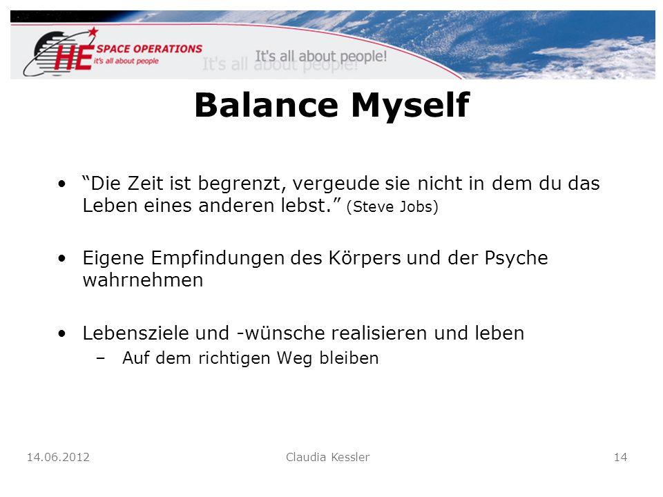 Balance Myself Die Zeit ist begrenzt, vergeude sie nicht in dem du das Leben eines anderen lebst. (Steve Jobs)