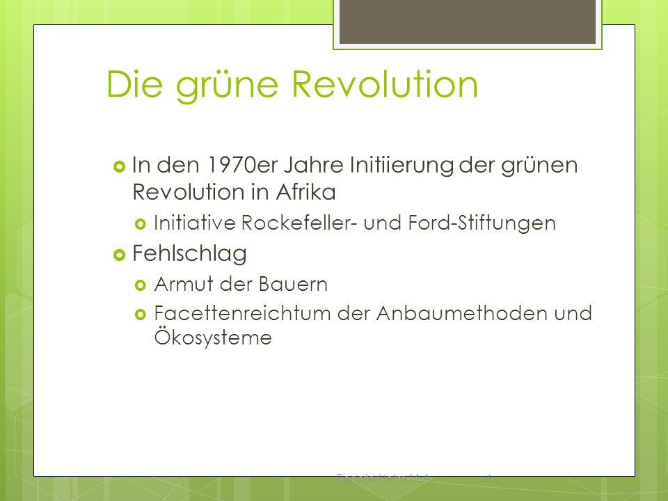 Die grüne Revolution In den 1970er Jahre Initiierung der grünen Revolution in Afrika. Initiative Rockefeller- und Ford-Stiftungen.