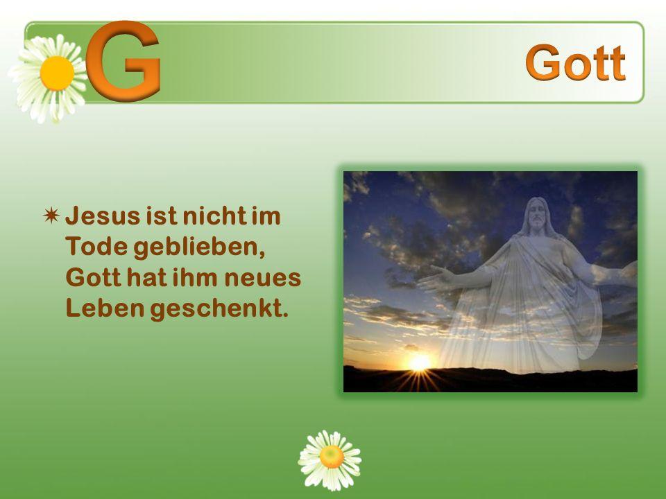 G Gott Jesus ist nicht im Tode geblieben, Gott hat ihm neues Leben geschenkt.