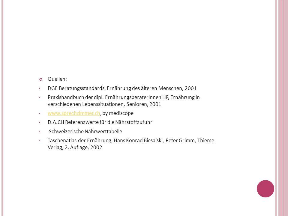 Quellen:DGE Beratungsstandards, Ernährung des älteren Menschen, 2001.
