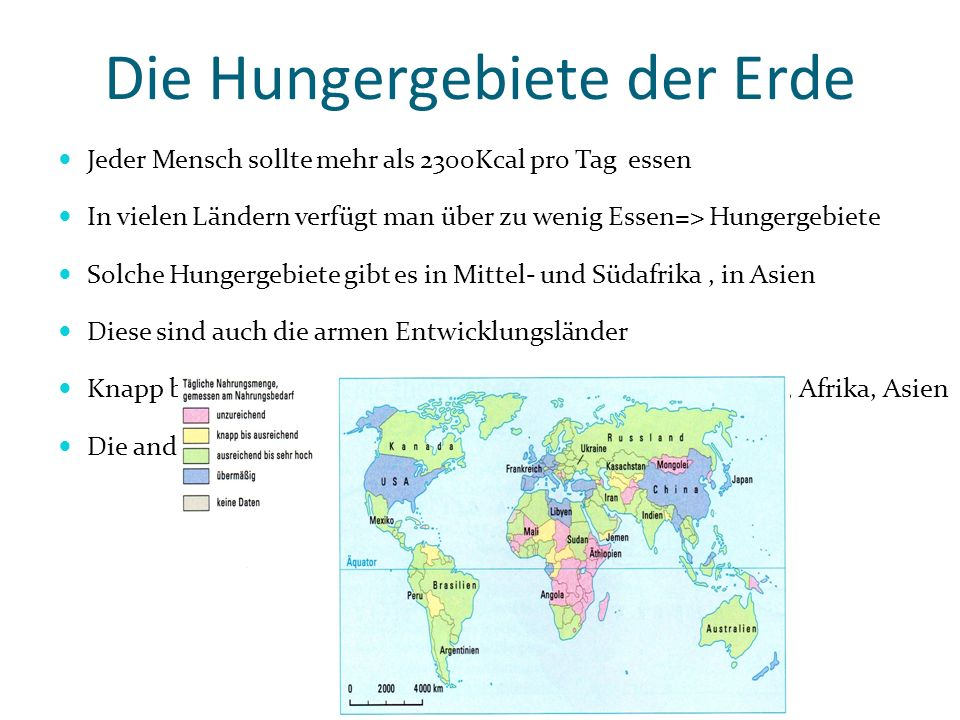 Die Hungergebiete der Erde
