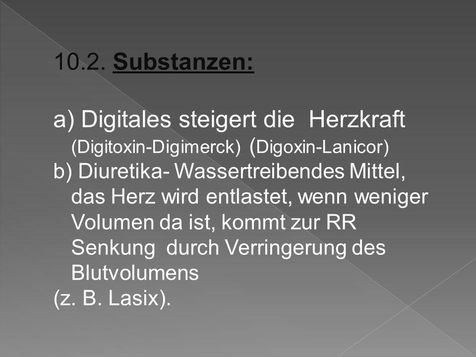 10.2. Substanzen: a) Digitales steigert die Herzkraft (Digitoxin-Digimerck) (Digoxin-Lanicor)