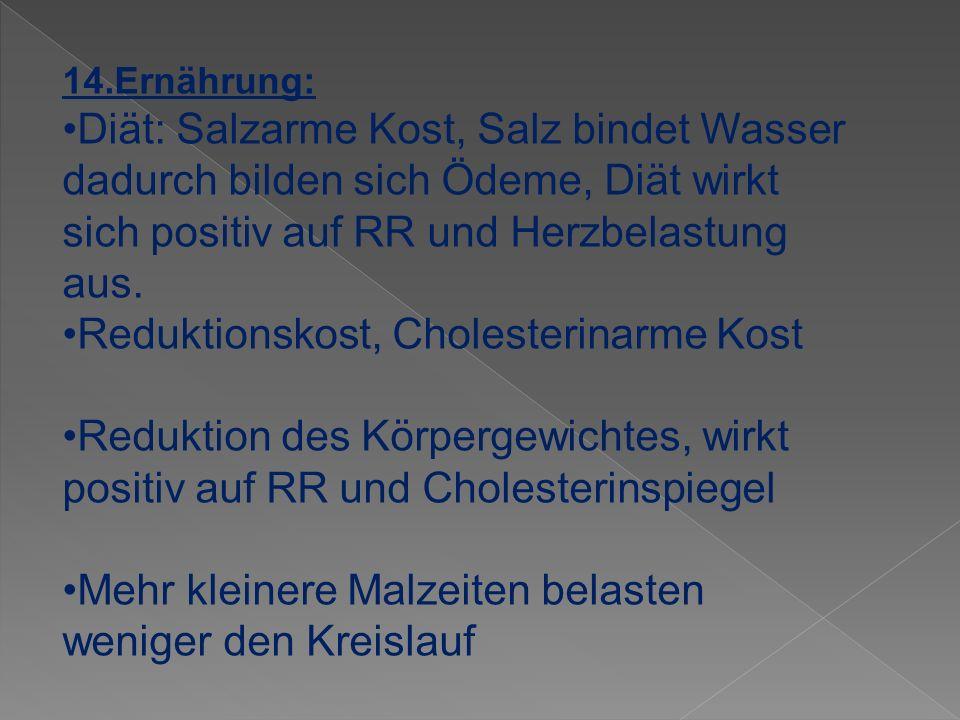 •Reduktionskost, Cholesterinarme Kost