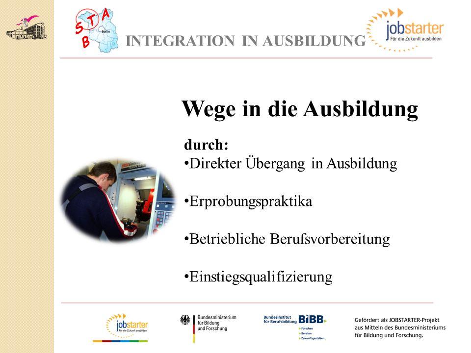 Wege in die Ausbildung INTEGRATION IN AUSBILDUNG durch: