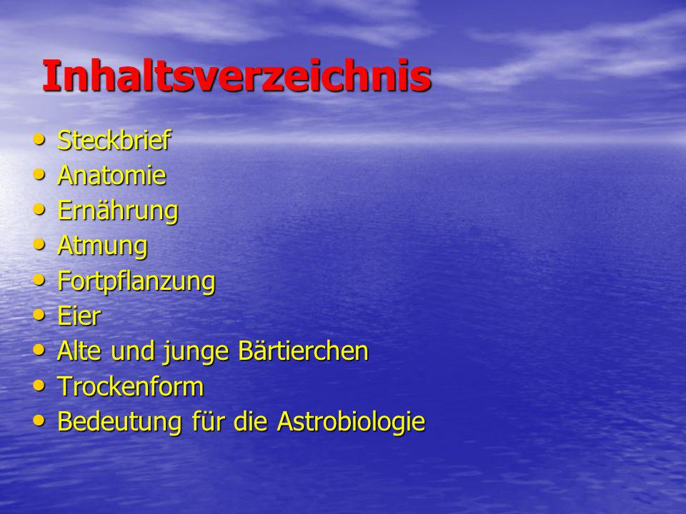 Inhaltsverzeichnis Steckbrief Anatomie Ernährung Atmung Fortpflanzung