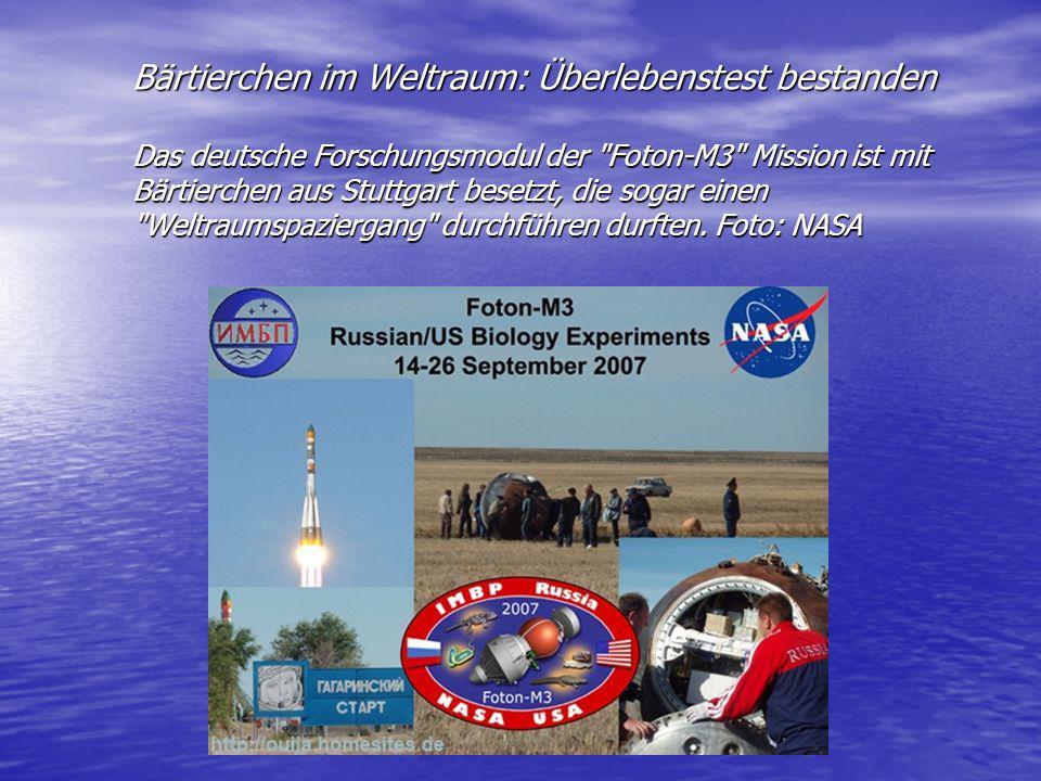 Bärtierchen im Weltraum: Überlebenstest bestanden Das deutsche Forschungsmodul der Foton-M3 Mission ist mit Bärtierchen aus Stuttgart besetzt, die sogar einen Weltraumspaziergang durchführen durften.