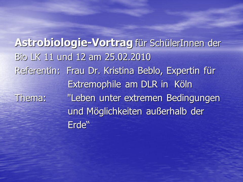 Astrobiologie-Vortrag für SchülerInnen der
