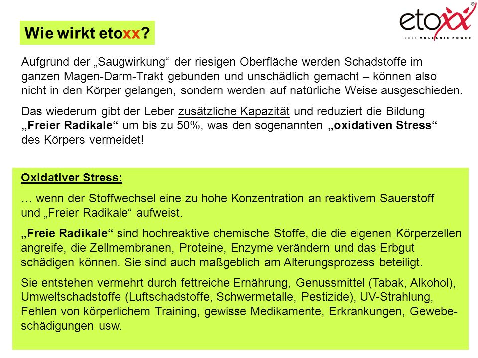 """Wie wirkt etoxx Aufgrund der """"Saugwirkung der riesigen Oberfläche werden Schadstoffe im."""