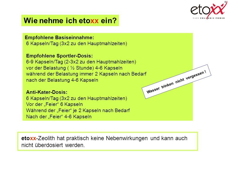 Wie nehme ich etoxx ein Empfohlene Basiseinnahme: 6 Kapseln/Tag (3x2 zu den Hauptmahlzeiten) Empfohlene Sportler-Dosis: