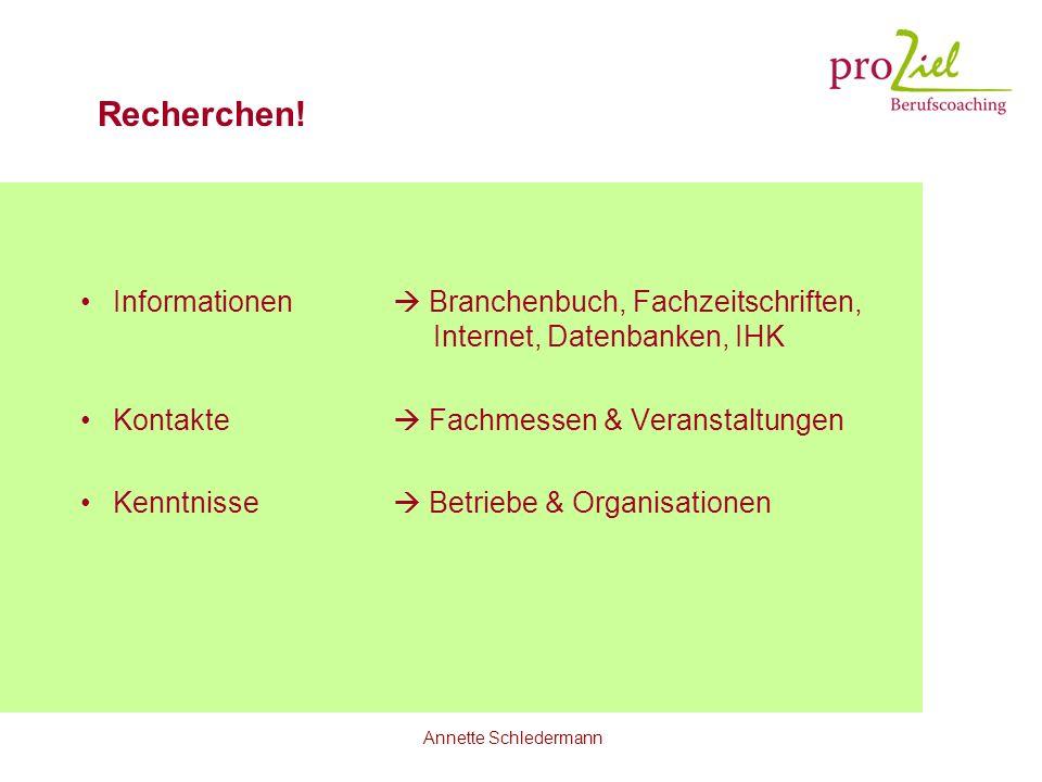 Recherchen! Informationen  Branchenbuch, Fachzeitschriften, Internet, Datenbanken, IHK. Kontakte  Fachmessen & Veranstaltungen.
