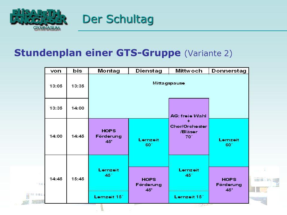 Stundenplan einer GTS-Gruppe (Variante 2)