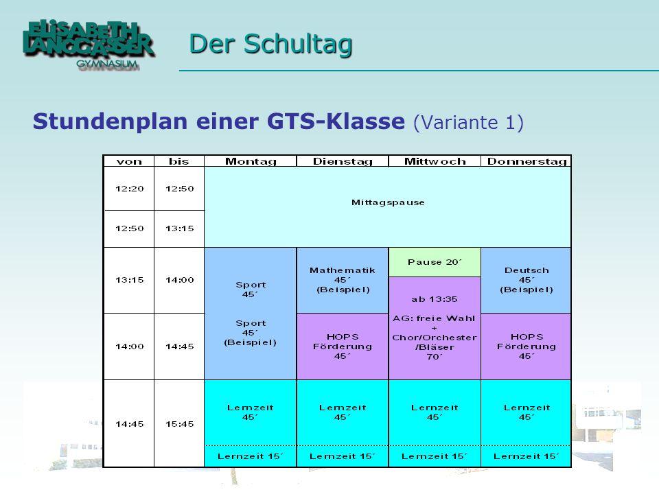 Stundenplan einer GTS-Klasse (Variante 1)