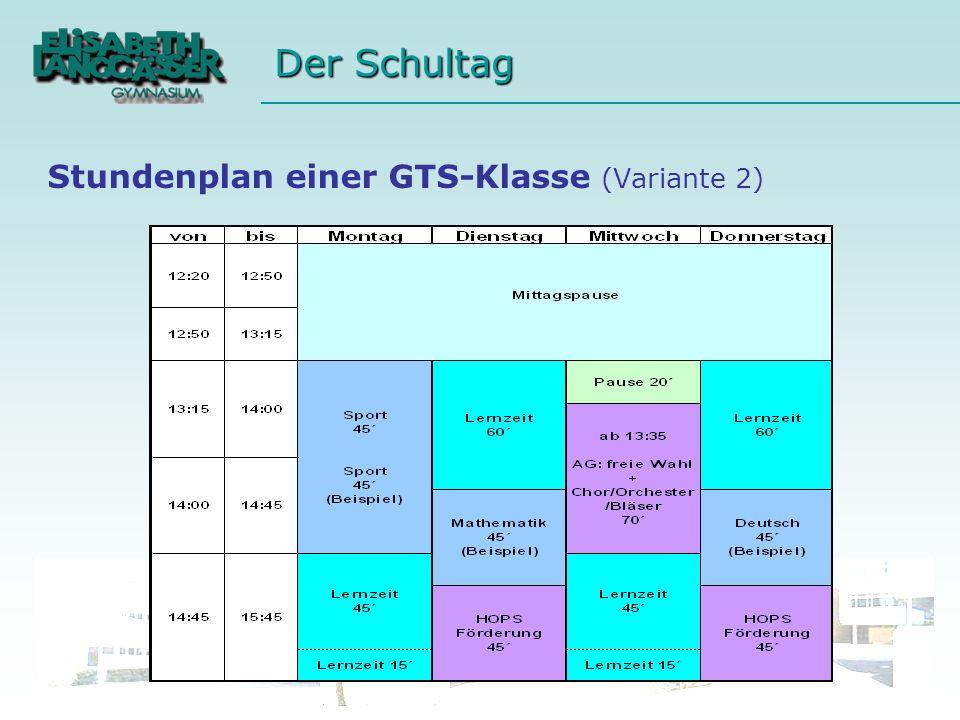 Stundenplan einer GTS-Klasse (Variante 2)