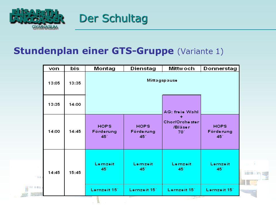 Stundenplan einer GTS-Gruppe (Variante 1)