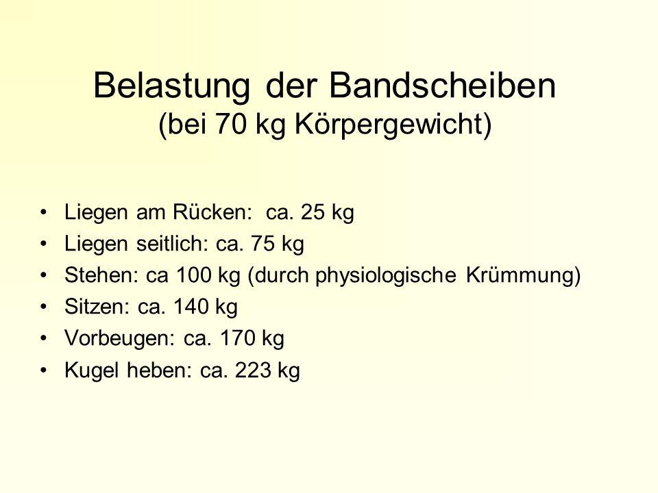 Belastung der Bandscheiben (bei 70 kg Körpergewicht)