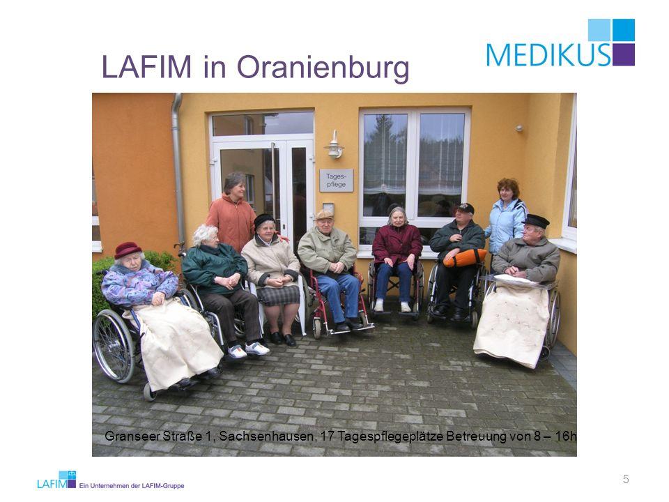 LAFIM in Oranienburg Granseer Straße 1, Sachsenhausen, 17 Tagespflegeplätze Betreuung von 8 – 16h