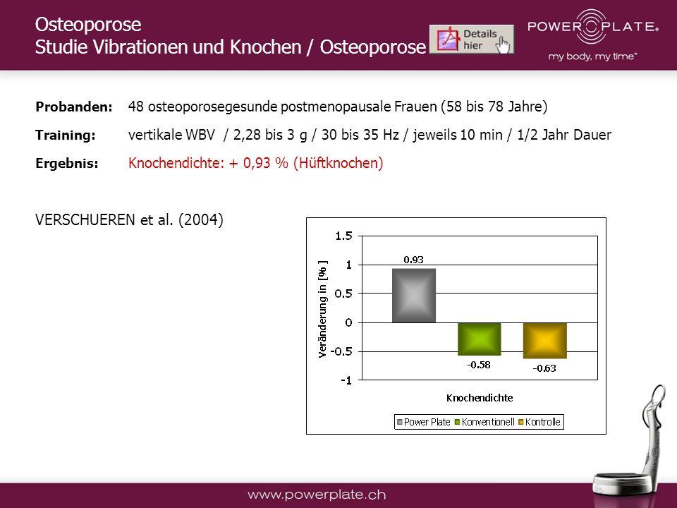 Osteoporose Studie Vibrationen und Knochen / Osteoporose
