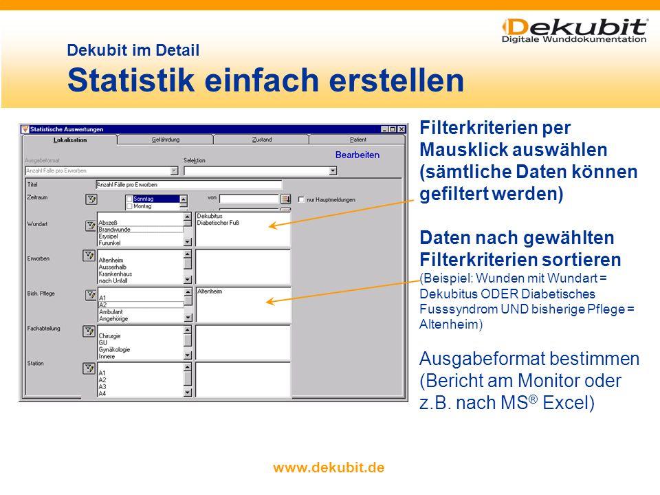 Dekubit im Detail Statistik einfach erstellen