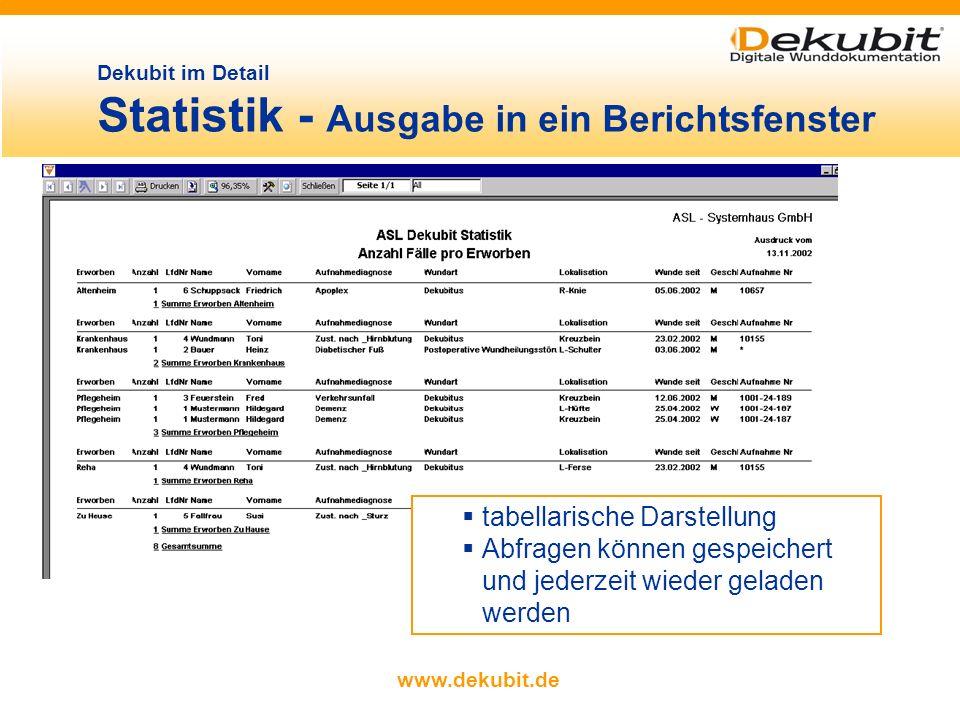 Dekubit im Detail Statistik - Ausgabe in ein Berichtsfenster